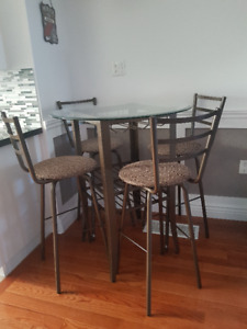 **AMISCO *Canada Made* Metal Bar Height Table and 4 Bar Stools*
