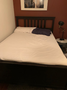 free bed frame, mattress, and boxspring
