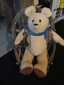 Wicker chair and bear