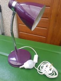 Table / desk lamp bedside reading light purple