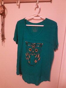 Teal owl shirt