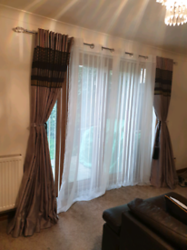 Black gray patio door curtains