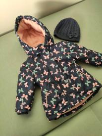 Jacket for girl 9-12 msc. + hat 9-12.