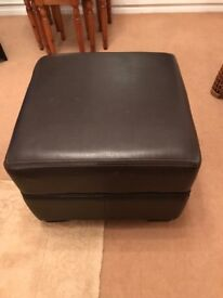 Faux leather chocolate brown pouffe