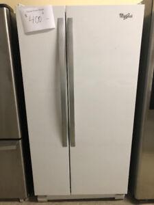 Réfrigérateur Whirlpool blanc portes côte à côte