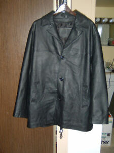 Mens Black Leather Coat**REDUCED PRICE**