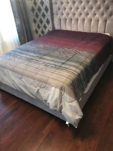 Bedding - Grey and Purple Comforter Set (Queen)