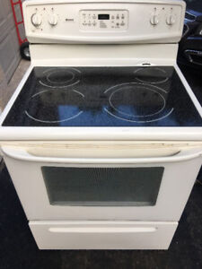 """Quick sale Kenmore white 30"""" electric glass top stove range oven"""