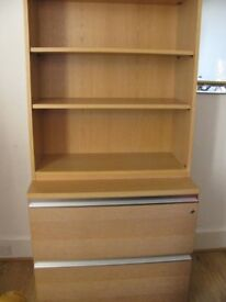 Oak wooden bookcase and filing cabinet