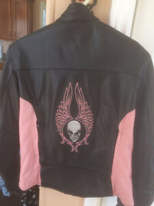 Motorcycle Jacket  ladies  black and \pink  small 14  $200.00