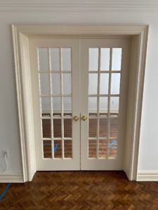 Solid wood doors with brass hardware (and optional trim)