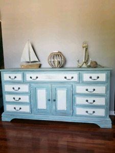 refinished long dresser all wood