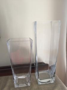 2 vases, pots en verre