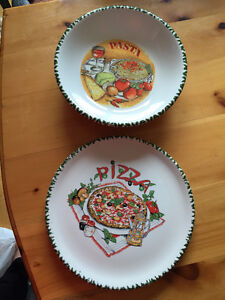 Ceramic Pasta Bowl and Pizza Plate