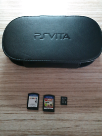 PS Vita with 2x Games, Memory Card & Leather Case