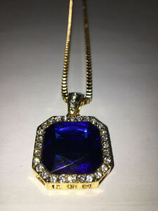 ICED OUT RUBY PENDANTS - BLUE, GREEN - $65