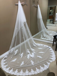 New Wedding Veil - white Cathedral length with floral pattern