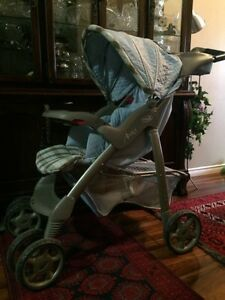 Evenflo blue and beige stroller