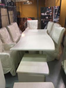 set de Meuble table buffet blanc italien en bois laqué Ambienti
