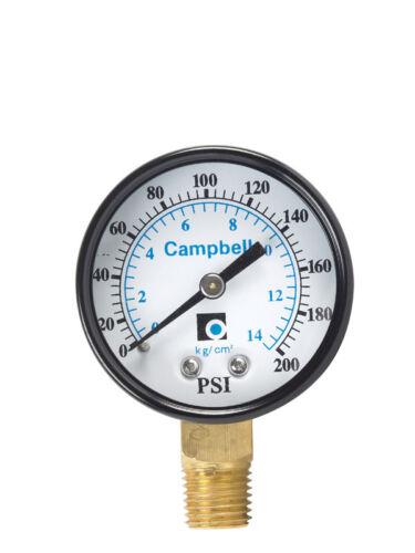 NEW! CAMPBELL Pressure Gauge 0-200 PSI PG2T-NL