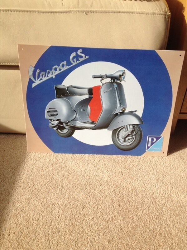 Tin Vespa sign