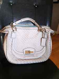Coach round woven ivory satchel crossbody large handbag purse ba Belleville Belleville Area image 1