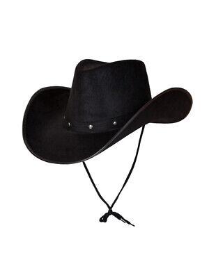 Black Texas Cowboy Hat Mens Ladies Wild West Fancy Dress Felt Studded Accessory