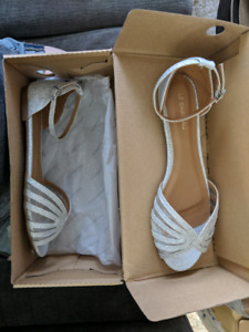 Flat silver sandals size 8 brand new