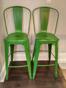 BRAND NEW rustic industrial bar stools (x2) in distressed green