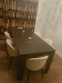 Modern dining table and 6 velvet chairs by venture design