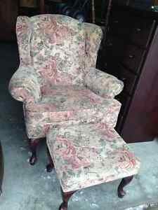 Beautiful Cherry Queen Ann Wing Back With Foot Stool