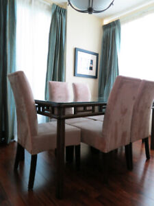 Set of 6 fawn-coloured microfibre Parsons dining chairs