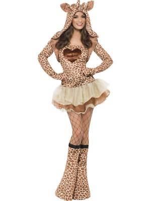 LADIES FEVER GIRAFFE COSTUME WOMENS ANIMAL FANCY DRESS TUTU JACKET HOOD (Womens Giraffe Kostüm)
