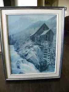 Framed waterfall picture