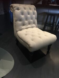 Tufted Linen Slipper Chair with Silver Nailhead Detail