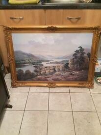 Large gilt framed scenic print