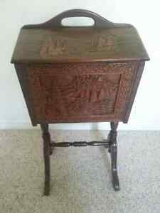 Vintage Sewing Stand, Carved Teak, with Sliding Trays