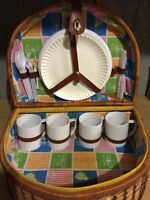 Willow picnic basket with cutlery and dishes