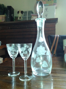 Vintage etched crystal wine decanter and stemware set.Never used