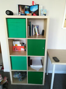 Ikea (Kallax) light wood shelf with two boxes and two inserts
