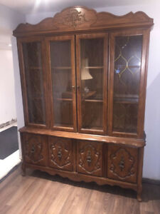 Vintage China Cabinet with Lighting Built in (Authentic wood)