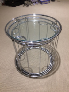 Glass End Tables, Set of 3