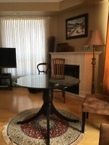 Pedestal Table with Glass Top