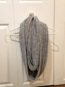 Roots Grey Knit Long Infinity Scarf