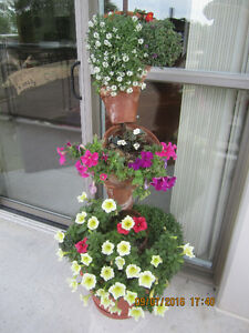 Summer is coming soon! Two spiral Clay pot Floral Plant stands
