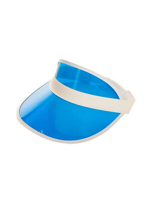 Blue Clear Sun Visor Pub Golf Poker Rave Fun Fancy Dress Vegas Hat Cap 80's
