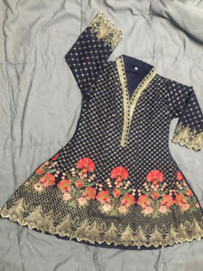 Large Blue Embroidered Kurti with Tilla Work Pakistani Indian