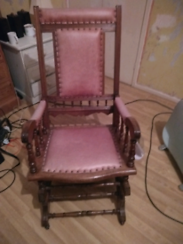 Vintage style rocking chair leather seats and back