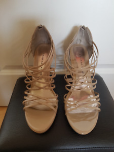 Chinese Laundry, patent leather, sand color shoes