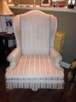 Cream coloured Wing back chair